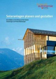 Solaranlagen planen und gestalten - Energieinstitut Vorarlberg