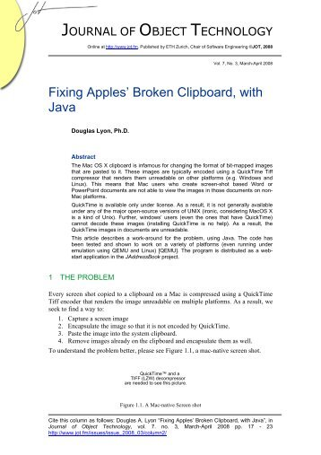 Fixing Apples' Broken Clipboard, with Java - The Journal of Object ...