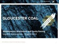 Gloucester raises $400m, buys Middlemount interest..and rallies!