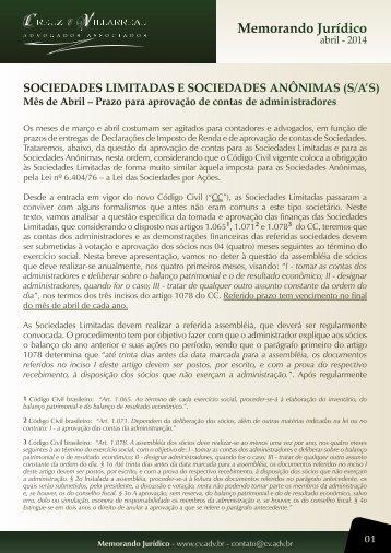 CV Memo 01 - abril 2014