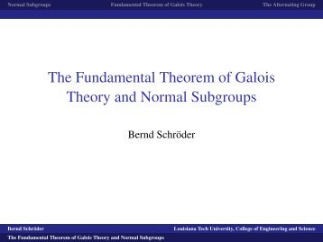 The Fundamental Theorem of Galois Theory and Normal Subgroups