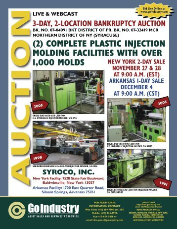 (2) complete plastic injection molding facilities with over 1000 molds