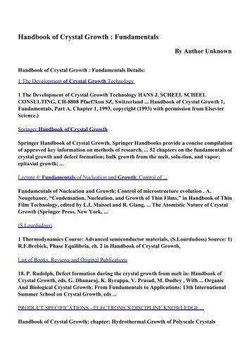 Download Handbook of Crystal Growth : Fundamentals pdf ebooks ...