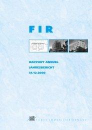 RAPPORT ANNUEL JAHRESBERICHT 31.12.2000 - FIR - Fonds ...