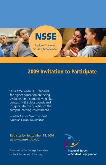 2009 NSSE invite.indd - NSSE - Indiana University Bloomington