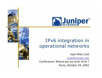 IPv6 integration in operational networks