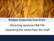 Case Study Japanese Food Sector Investment - Promar Consulting