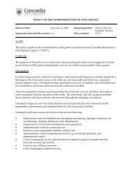 policy on the administration of cida grants - Concordia University