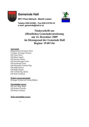 Gemeinderatssitzungsprotokoll vom 14.12.2009 - Gemeinde Hall