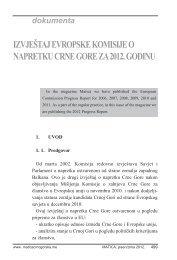 izvještaj evropske komisije o napretku crne gore za 2012. godinu