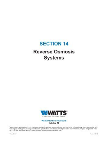 SECTION 14 Reverse Osmosis Systems - Watts Water Technologies ...