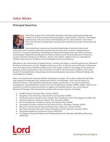 John Nicks - Lord Cultural Resources