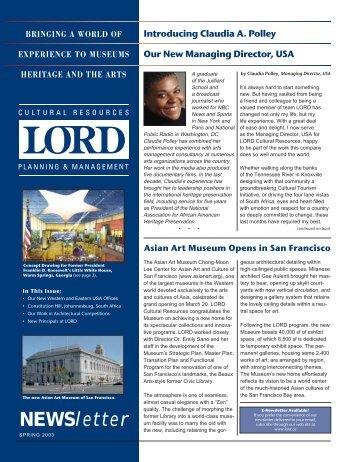 Primavera 2003 (PDF) - Lord Cultural Resources