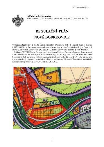 Opatření obecné povahy RP Nové Dobrkovice - Český Krumlov