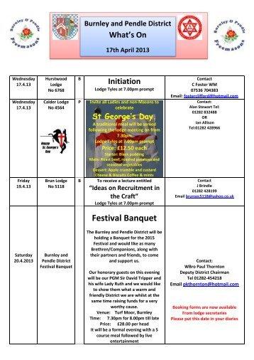 Festival Banquet - Provincial Grand Lodge of East Lancashire