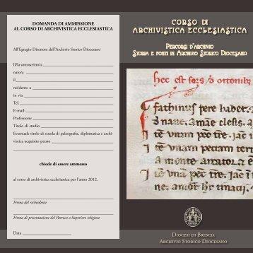 CORSO DI ARCHIVISTICA ECCLESIASTICA - Diocesi di Brescia