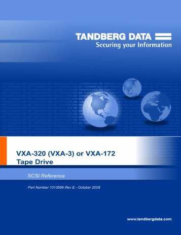 VXA-3 or VXA-172 Tape Drive SCSI Reference - Tandberg Data