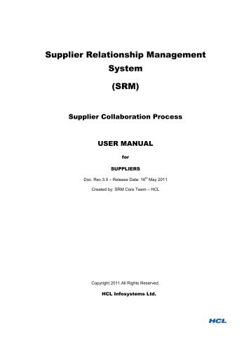Supplier Relationship Management System (SRM) - HCL Infosystems