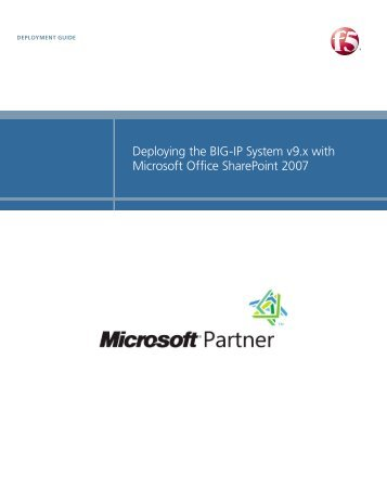 Microsoft Office SharePoint 2007 - F5 Networks