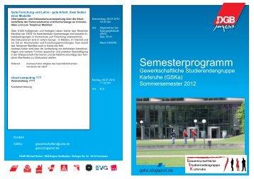 Semesterprogramm - Gewerkschaftliche Studierenden Gruppe