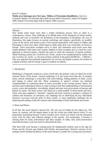 1 Kim H. Veltman Media nova fontesque novi. De Luna, Mithra, et ...