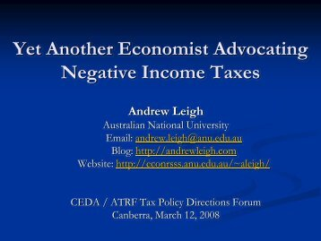 Negative Income Taxes - Andrew Leigh