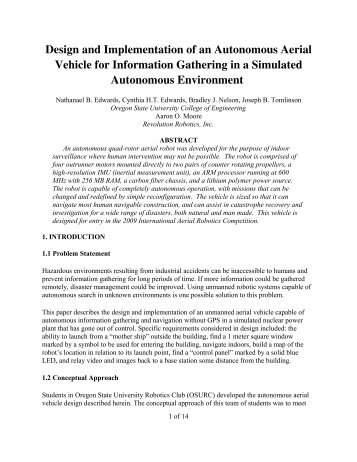 Design and Implementation of an Autonomous Aerial Vehicle for ...
