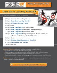 Team-Based Learning Workshop - University of Tennessee College ...