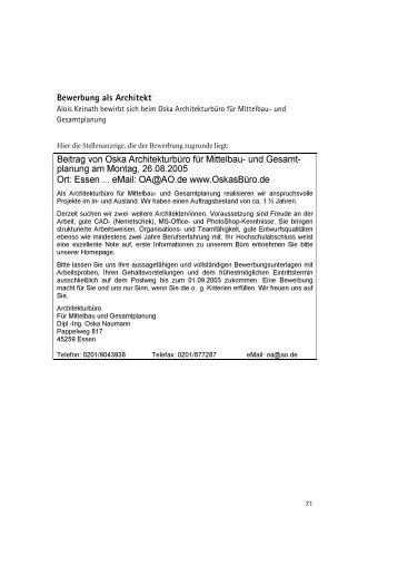 Bewerbung als Architekt Beitrag von Oska Architekturbüro für ...