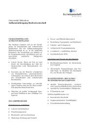 Universität München: Aufbaustudiengang Buchwissenschaft