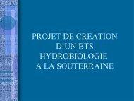 projet de creation d'un bts hydrobiologie a la souterraine