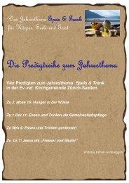 Predigtreihe - Evangelisch-reformierte Kirchgemeinde Saatlen