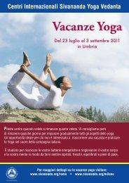Vacanze Yoga - Sivananda Yoga Firenze