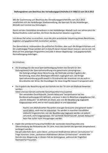 Stellungnahme des Klägers - Stadtpolitik Heidelberg