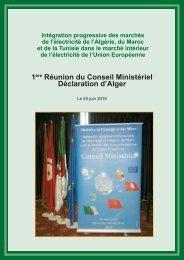 La déclaration d'Alger du 20 juin 2010 - Ministère de l'énergie et des ...