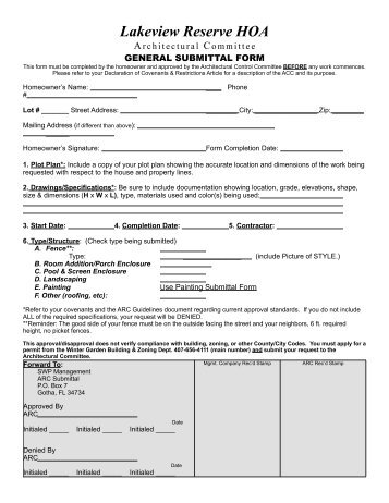 Architectural Review Committee Approval Form (PDF) - Southwest ...