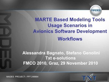 MARTE Based Modeling Tools Usage Scenarios in Avionics ... - FMCO