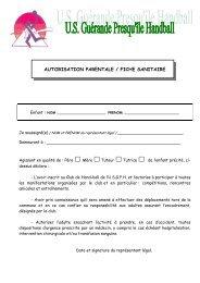 AUTORISATION PARENTALE / FICHE SANITAIRE