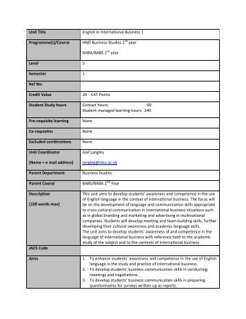 Unit Title English in International Business 1 ... - Blc.lsbu.ac.uk