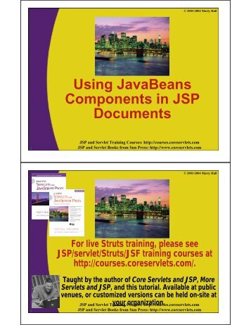 Using JavaBeans Components in JSP Documents - Custom ...