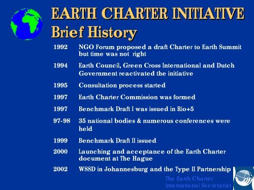 EARTH CHARTER INITIATIVE Brief History - Webpages at SCU