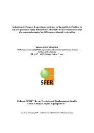 Evaluation de l'impact des pratiques agricoles sur la qualité de ... - Sfer