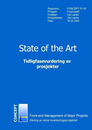 State of the art - Tidligfasevurdering av prosjekter - Concept - NTNU