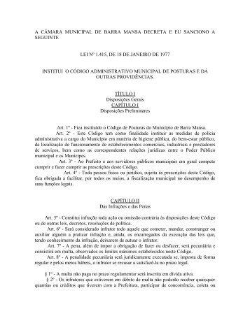 Lei nº 1415 de 18 de janeiro de 1977 - Prefeitura Municipal de Barra ...