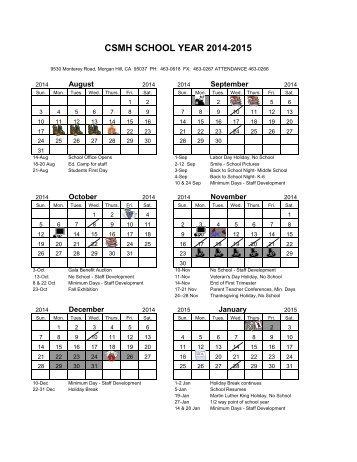 2014/15 Calendar - Csmh.org