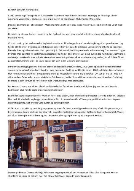 Facaden af Madsens Hotel og Keaton Cinema. - Brande Historie