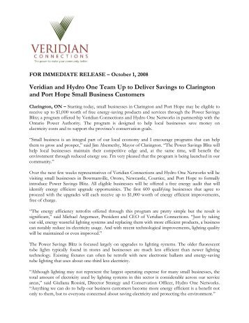 Veridian and Hydro One Team Up to Deliver Savings to Clarington ...