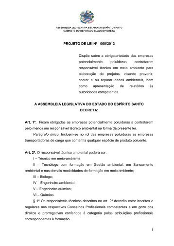 Projeto de Lei 60/2013 - Assembléia Legislativa do Estado do ...
