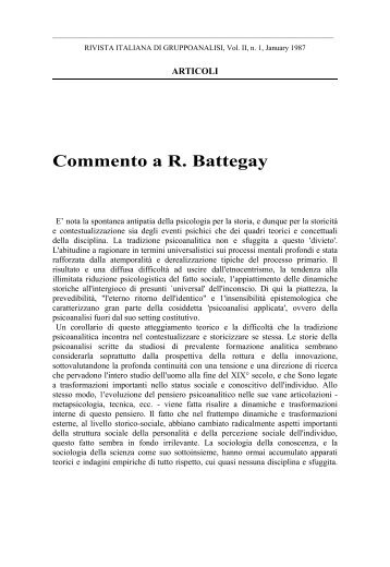 Commento a R. Battegay - enrico pozzi