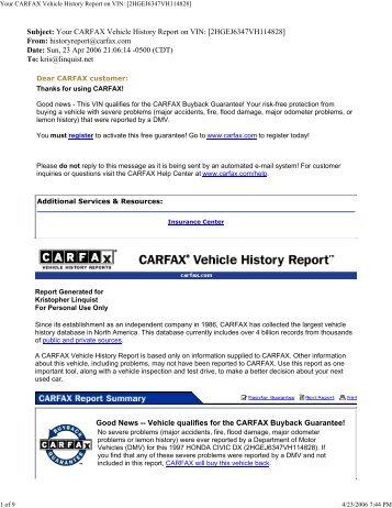 Your CARFAX Vehicle History Report on VIN ... - Linquist.net